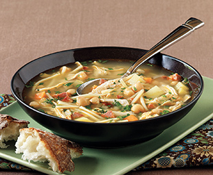 Andalusian Chicken Noodle Soup with Chickpeas