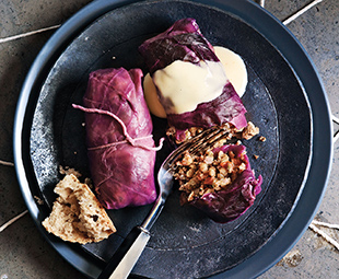 Wehani & Barley Red Cabbage Rolls with Cheddar Sauce