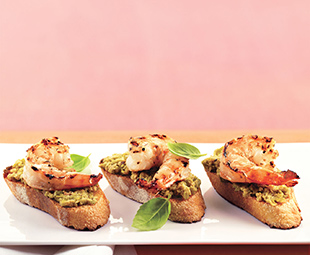 Grilled Shrimp & Green Olive Tapenade Bruschetta