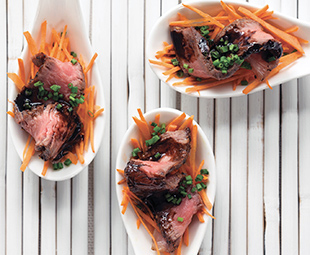 Strip-Loin Spoons with Balsamic Reduction