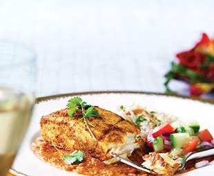 Roasted Halibut with Tomato Curry Sauce and Cauliflower Rice Pilaf