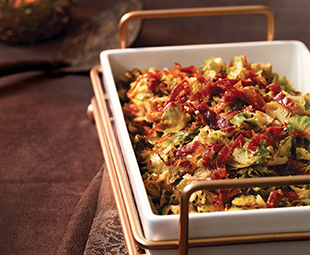 Caramelized Brussels Sprouts with Prosciutto Crisps
