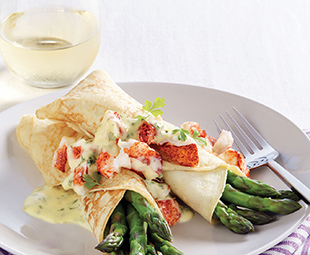 Asparagus & Lobster Crepes with Fines Herbes Hollandaise Sauce