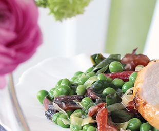 Peas with Swiss Chard & Mint