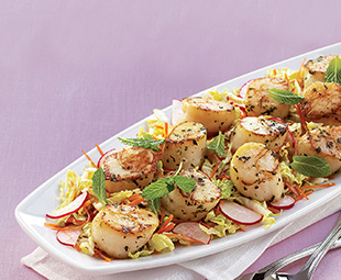 Chili Napa Slaw with Lime Mint Scallops