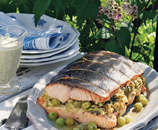 Stuffed Wild Salmon with Roasted Gooseberries & Fennel