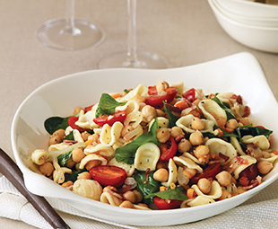 Orecchiette with Chickpeas, Spinach & Grape Tomatoes