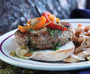 Italian Sausage Burgers with Peppers, Pesto & Penne