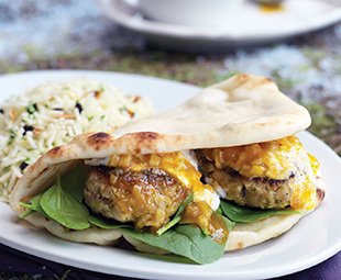 Curry Chicken Burgers with Apple Chutney & Spiced Basmati Almond Pilaf