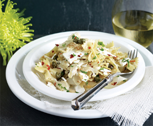Spiced Farfalle with Shaved Cauliflower and Ricotta Salata