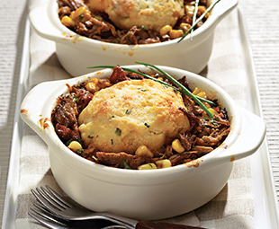 Southern-Style Pulled Pork Pies with Buttermilk-Chive Biscuits