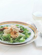 Arugula Salad with Grapefruit Vinaigrette & Spicy Shrimp