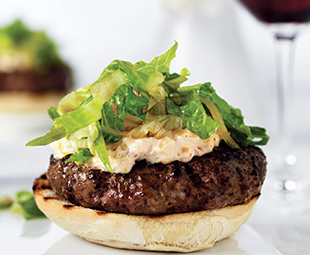 Open-Face Hamburger with Kimchee Mayonnaise