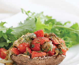 Tomato Bocconcini-Stuffed Mushrooms Mixed Greens