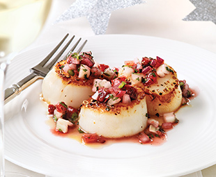 Spiced Scallops with Blood Orange Salsa