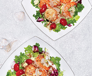 Seared Shrimp, Scallop & Grape Tomato Couscous Salad