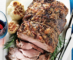 Slow-Roasted Shoulder of Lamb with Roasted Garlic