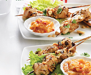 Grilled Chicken Satays with Late Harvest Peach Dipping Sauce