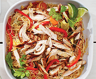 Singapore Noodles with Burnished Barbecue Chicken