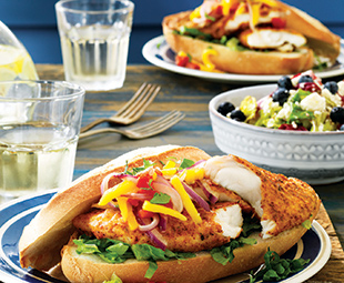 Firecracker Fish Sandwiches with Green Mango Salsa & Greens with Blueberry Vinaigrette