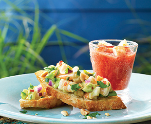 Crostini with Shrimp Ceviche &  Spanish Gazpacho Shooters