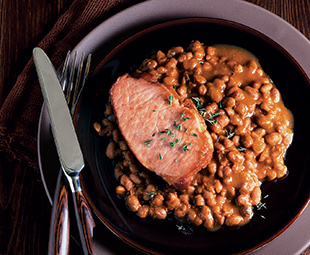 Molasses Baked Beans With Smoked Pork Chops