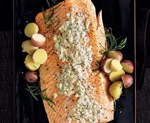Roasted Side Of Salmon With Mustard & Tarragon Cream Sauce