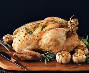 Butter-Rubbed Roast Chicken With Roasted Garlic