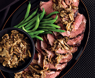 Slow-Roasted Rib of Beef with Sherried Mushroom Ragout