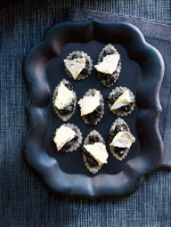 Black Sesame Crackers with Black Garlic Fig Jam