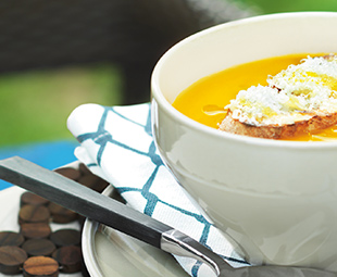 Grilled Sweet Pepper Soup with Garlic Croûtes
