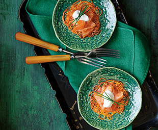 Sweet Potato Swirls with Smoked Salmon