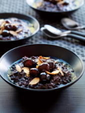 Black Rice Pudding with Cherry Preserves