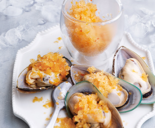Spicy Caesar Granita with Chilled Mussels