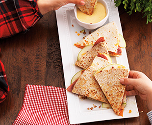 Pecan, Prosciutto & Apple Quesadillas with Maple Mustard Mayo Dipping Sauce