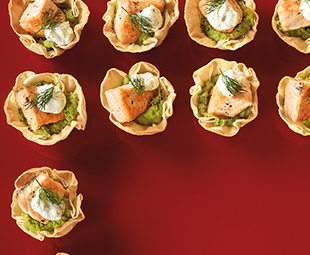 Baked Salmon in Phyllo Cups with Garlic Pea Purée & Dilled Cream