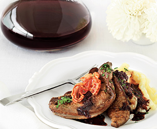 Seared Calf's Liver with Pancetta and Red Wine Sauce