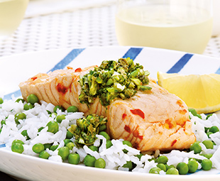 Spicy Poached Salmon with Garlic Scape Salsa