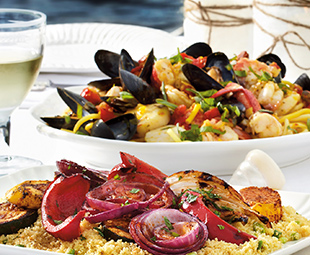 Grilled Garden Vegetables on Couscous