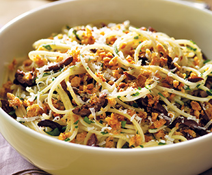 Capellini with Olives & Crispy Crumbs