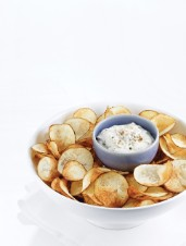 Classic Deep-Fried Potato Chips & Caramelized Onion Dip