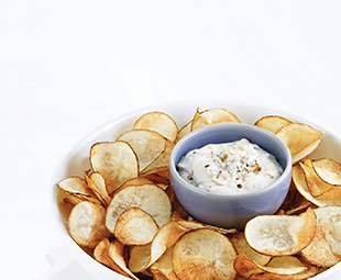 Deep-Fried Potato Chips & Caramelized Onion Dip