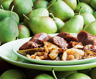 Anise-Scented Sausages with Caramelized Pear & Onion