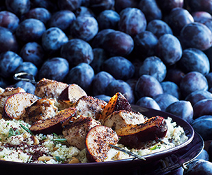 Plum-Chicken Sumac Skewers with Herbed-Pine-Nut Couscous