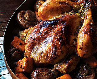 Cider & Maple-Glazed Chantecler Chicken with Roasted Leeks, Sweet & Baby Potatoes & Mushrooms