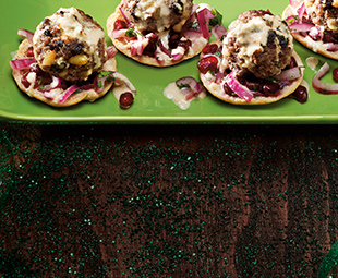 Mini-Pita Crisps with Beef Meatballs & Red Onion Pomegranate Slaw