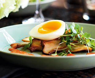 Abalone Mushrooms with 6-Minute Eggs