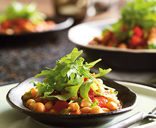 Slow-Cooked Chickpeas with Spicy Peppers and Arugula