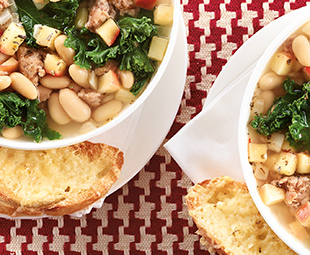 Sausage, White Bean & Kale Soup with Gruyère Toasts