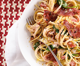Creamy Citrus Linguine with Prosciutto